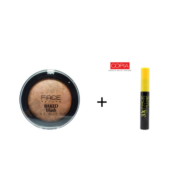 Face Recipe Baked Blush Bronze + Face Recipe 3X Volume & Length Mascara Black