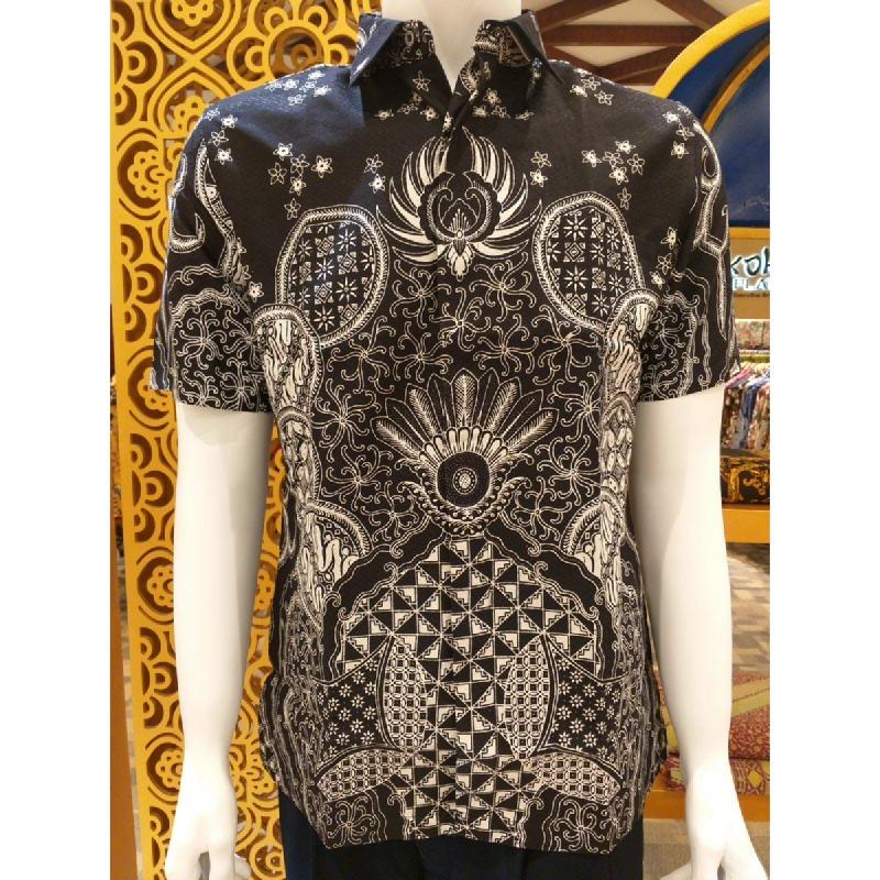 Batik Semar Pria Hem Pendek Full Tricot Lingkar Tinumpah 20 Hitam Size SML