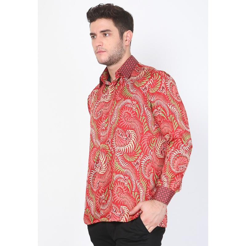 Adinata Batik Shaquille Red Hem Panjang Red