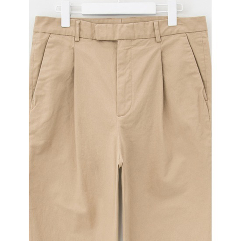 8 seconds Men Beige Cotton One Sided Casual Pants - Beige