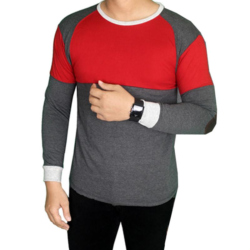 Gudang Fashion Kaos Panjang Pria Casual Terry Merah Abu PAN 871