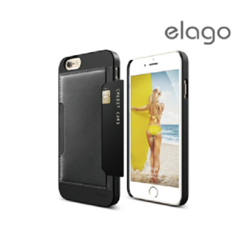 Elago Outfit Leather for iPhone 6, 6S - Black + Black