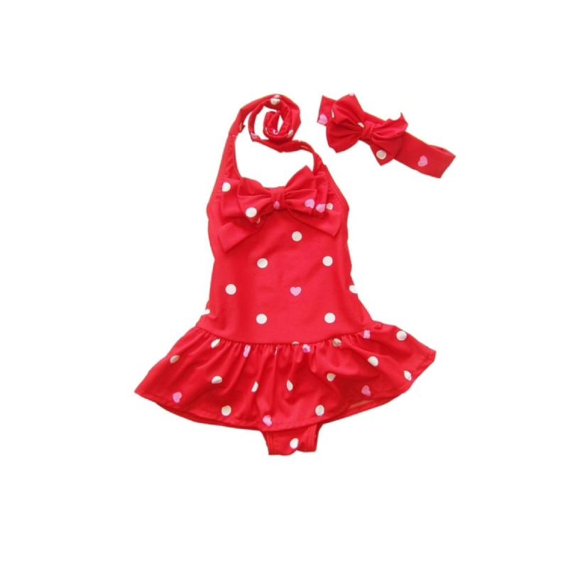 BabyLand Big Bow Polka Swimsuit BBS001