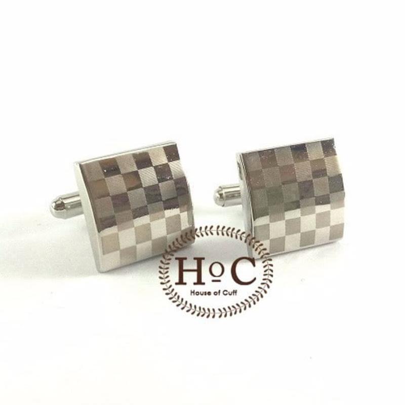 House Of Cuff Chess Board Silver Cufflinks