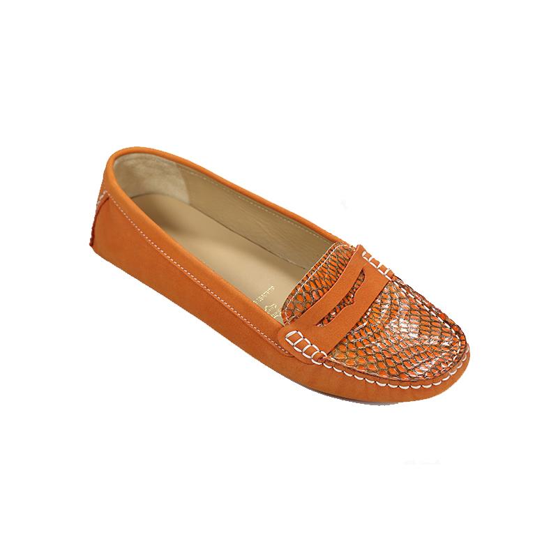 Andre Valentino Mocassin Flats Shoes Orange
