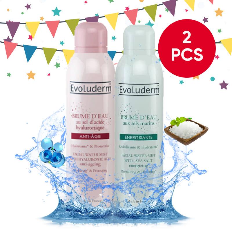 Evoluderm Facial Water Mist Anti-Aging With Hyaluronic Acid 150Ml + Evoluderm Facial Water Mist With Sea Salt 150Ml