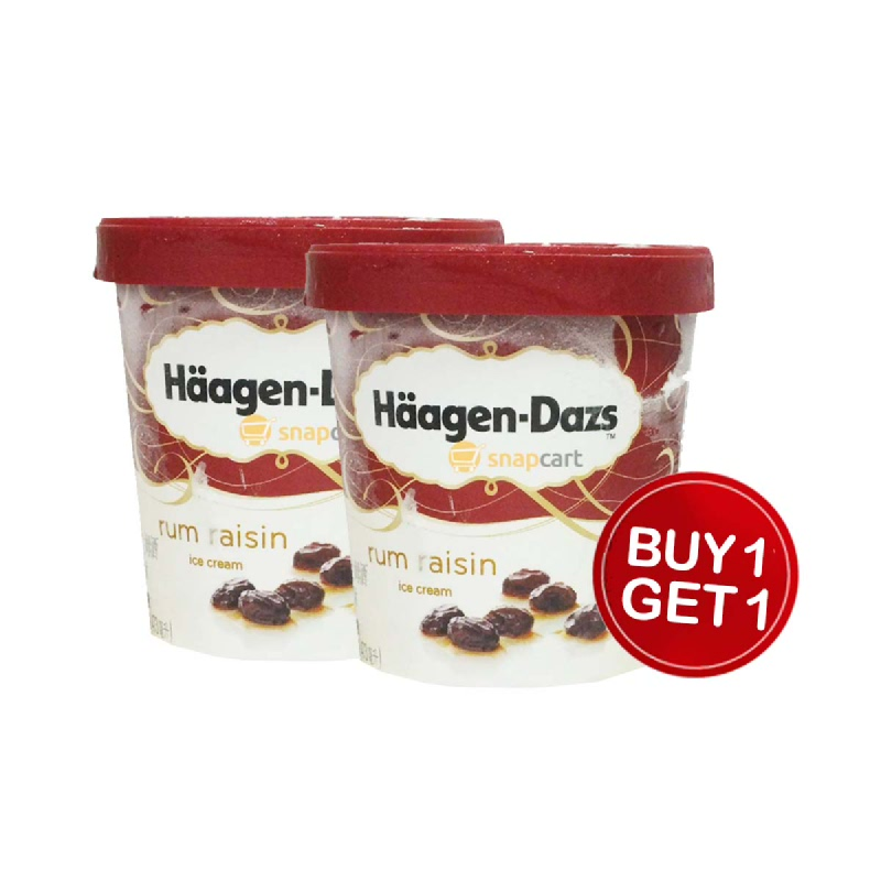 Haagen-Dazs Es Krim Rum Raisin 473 Ml (Buy 1 Get 1)
