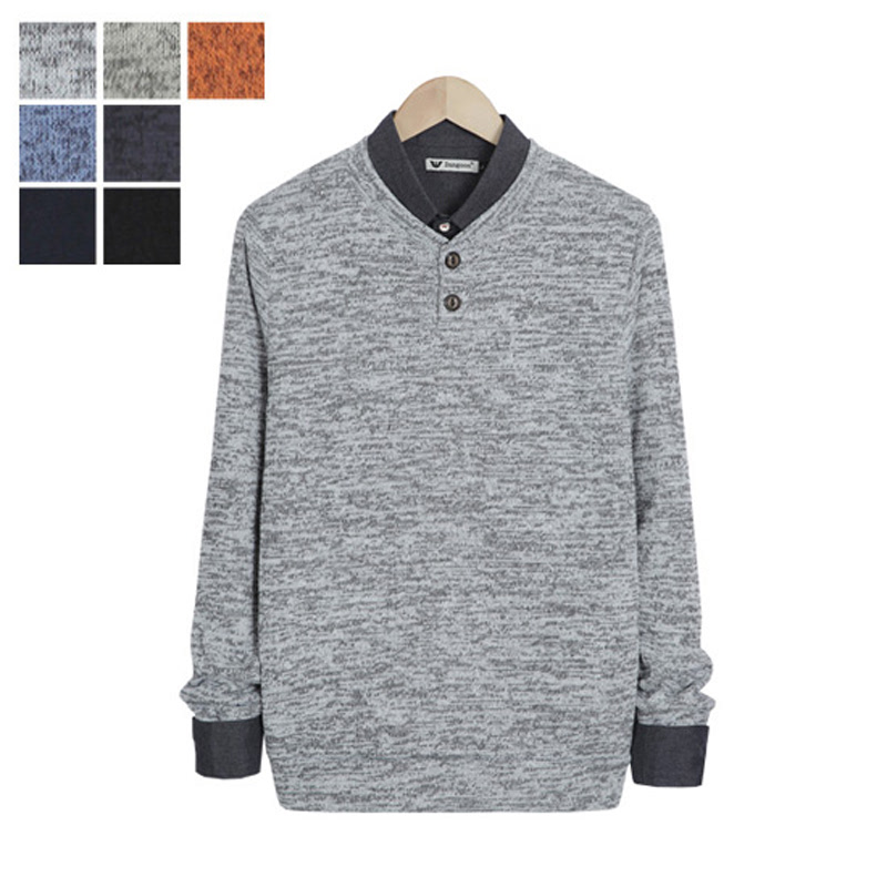 LW_Two Button Bokashi Henley Neck Knit - Grey