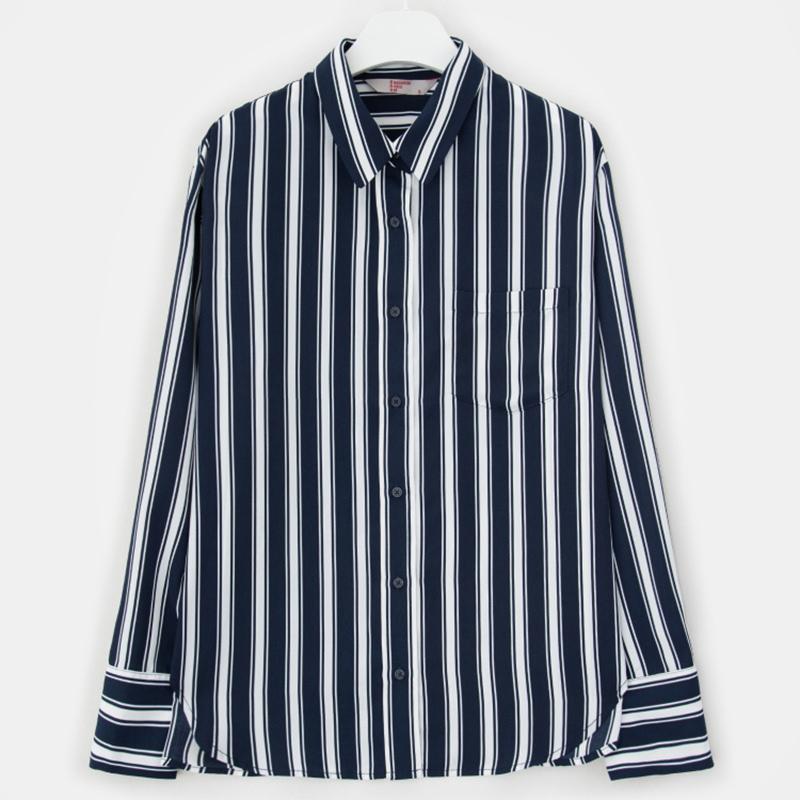 8 seconds Women White Soft Stripe Blouse - White