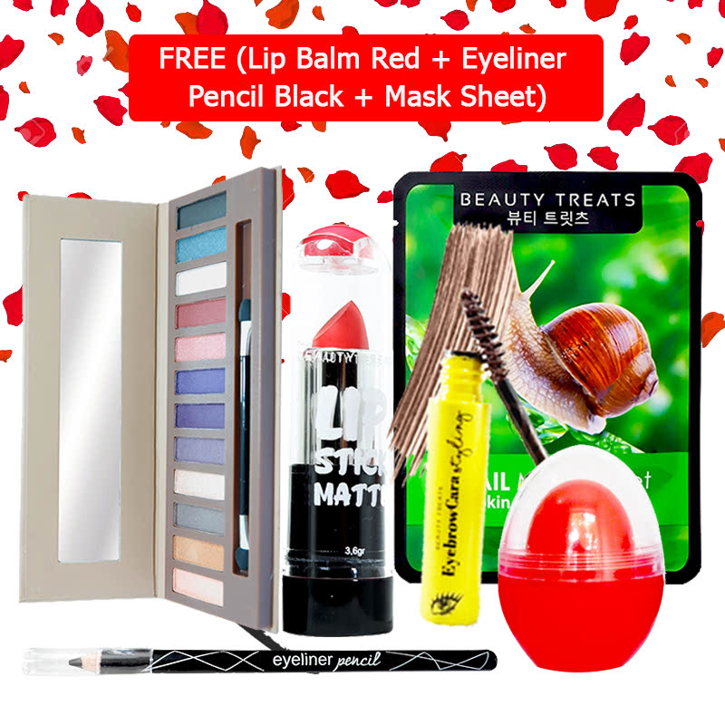 Beauty Treats Make Up Set B (Naked Eyeshadow No. 2 + Lipstick No. 8 + Eyebrowcara Dark Brown) FREE Kiss Me Lip Balm Red + Eyeliner Pencil Black + Mask Sheet Snail