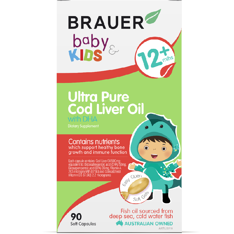 Brauer Baby and Kids Ultra Pure Cod Liver and Fish Oil 90 Soft Gels