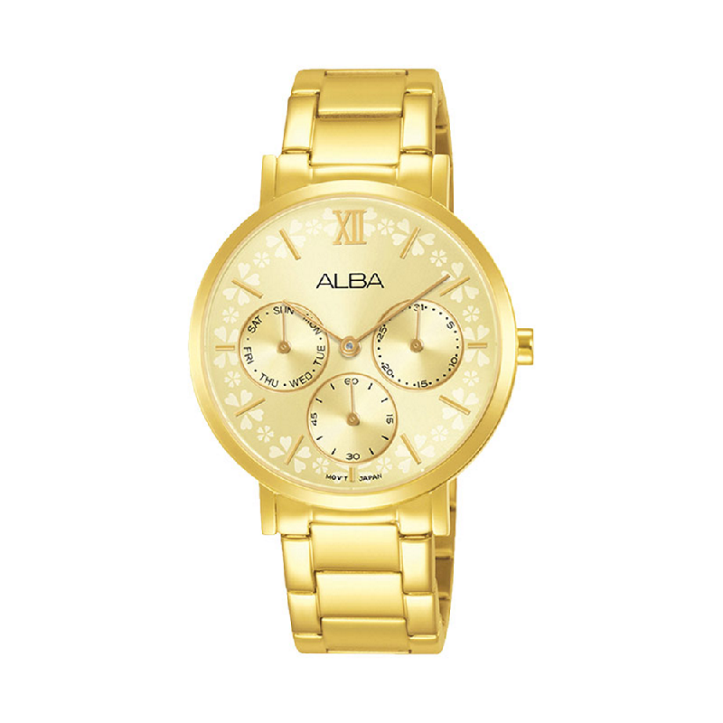 Alba AP6684X1 Ladies Light Gold Dial Gold Stainless Steel Strap