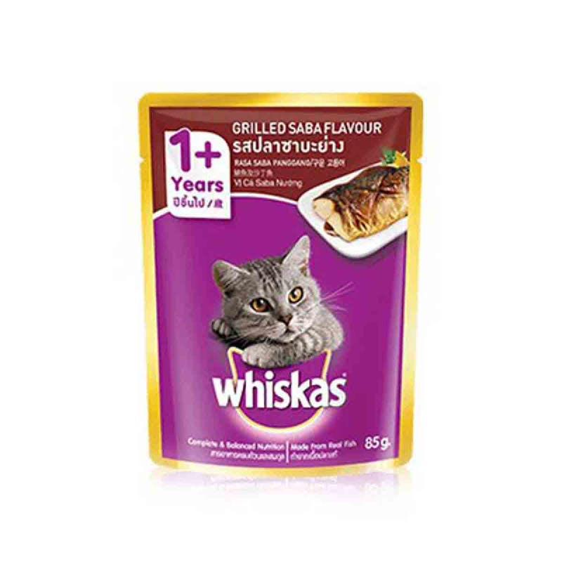 Whiskas Makanan Kucing Saba Panggang 85 Gr