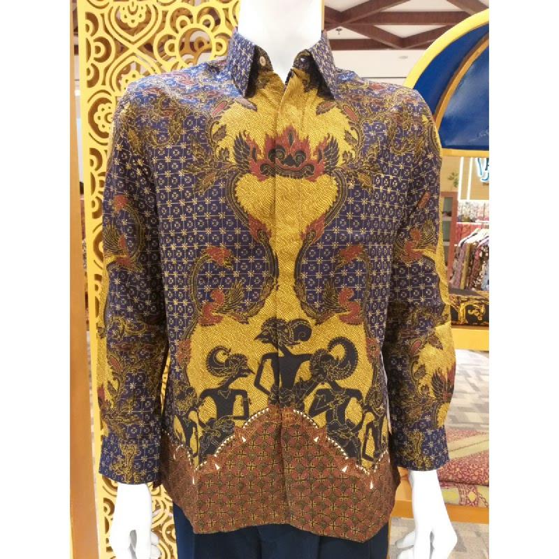 Batik Semar Pria Hem Panjang Full Tricot Pandawa Samarat 41 Dongker Size 3L