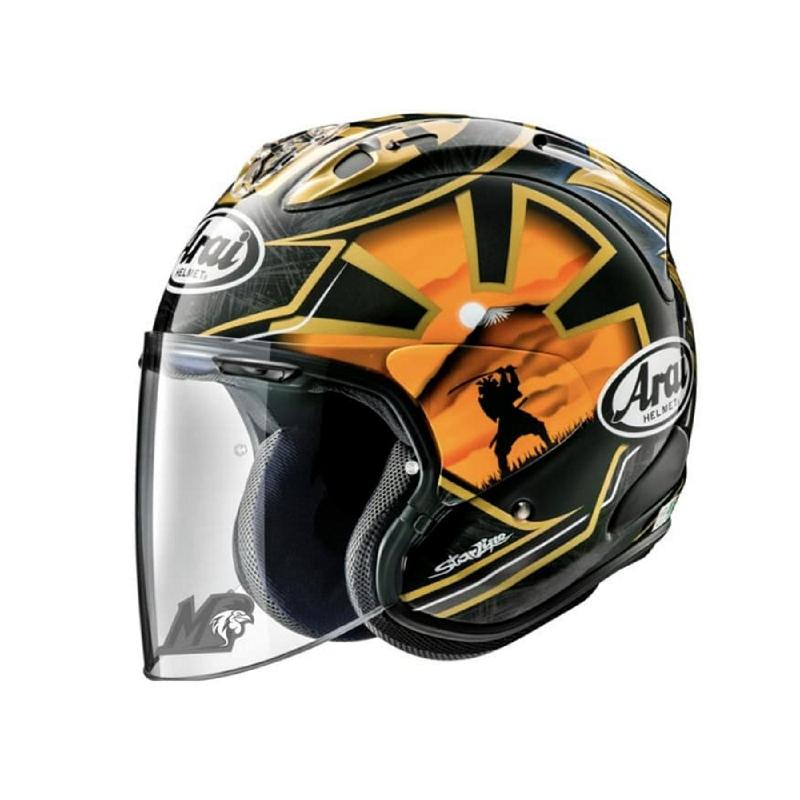 Arai Vs Ram Pedrosa Samurai Spirit Gold Helm Motor Half Face Biker