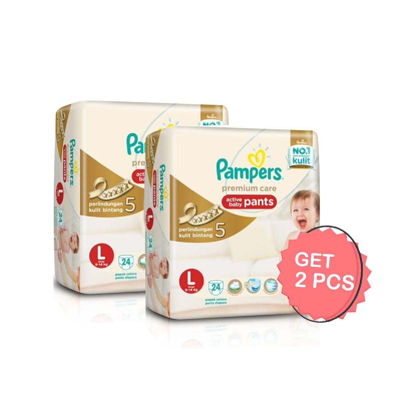 Pampers Premium Active Baby Diaper Pants L 24S (Get 2)