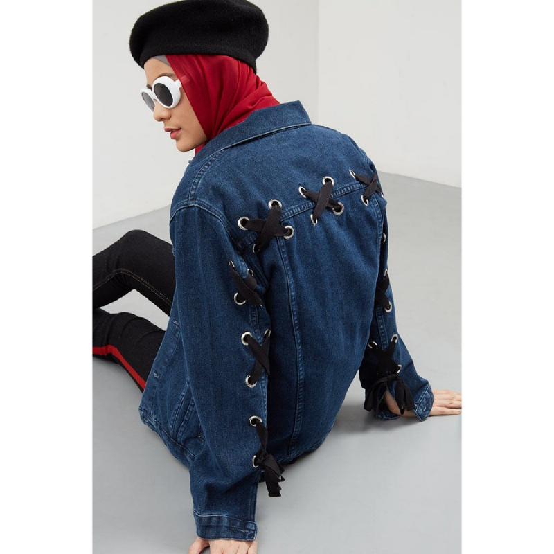 Bernadi Eyelet Denim Jacket Blue