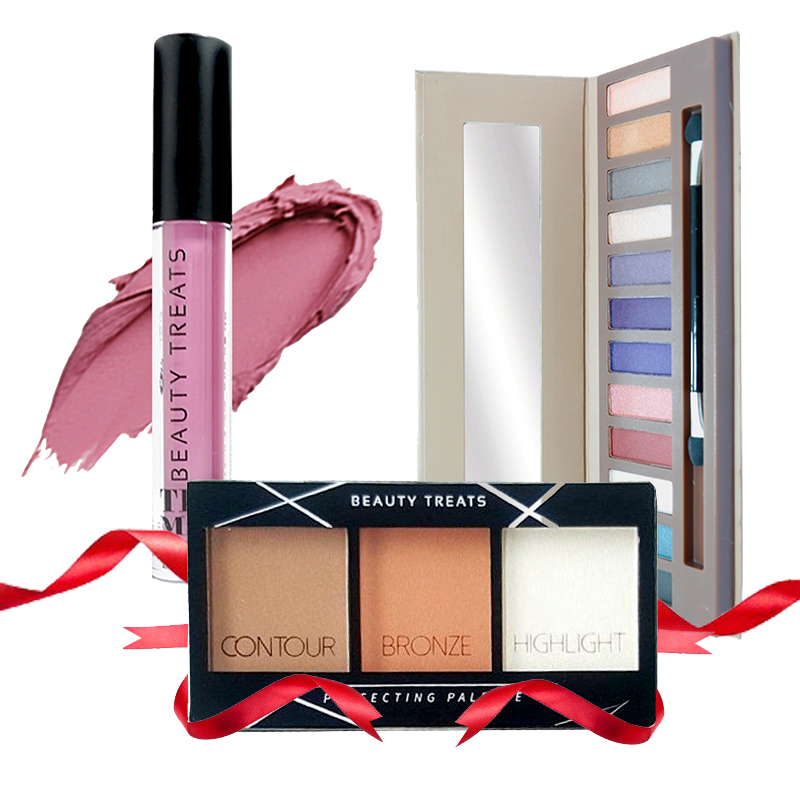 Beauty Treats Naked Eyeshadow No. 02 + Perfecting Pallete No. 01 FREE True Matte Lip Color No. 03