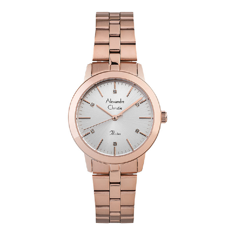 Alexandre Christie Passion AC 2897 LHBRGSLLadies Silver Dial Rose Gold Stainless Steel Strap