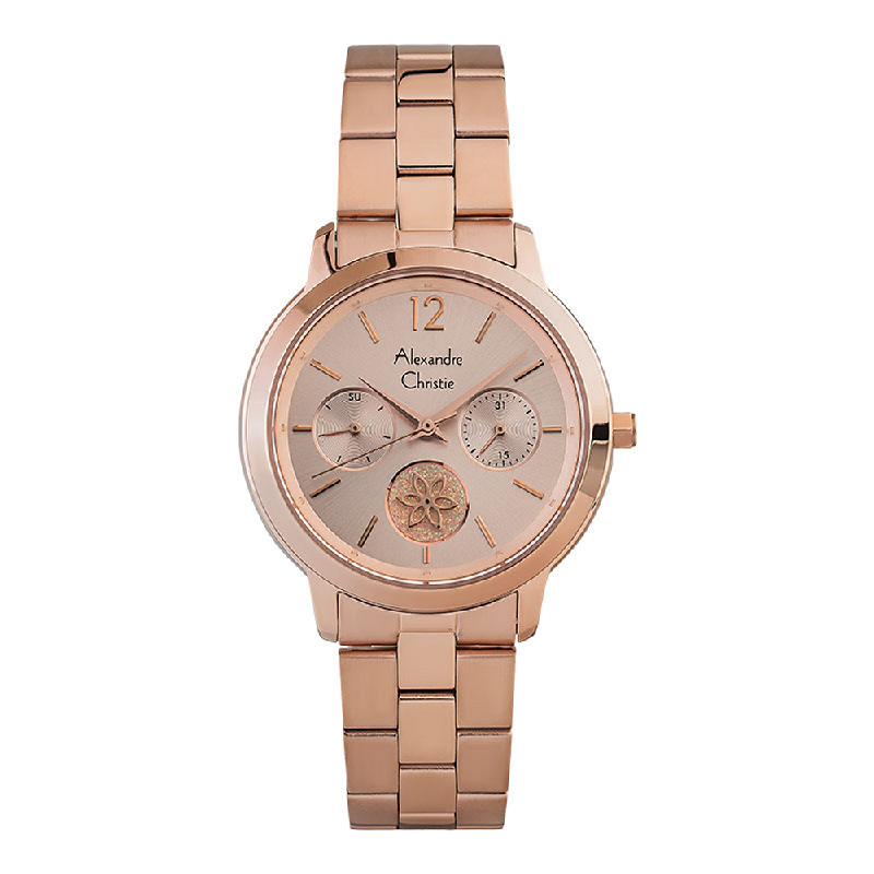 Alexandre Christie AC 2888 BF BRGLN Ladies Rose Gold Dial Rose Gold Stainless Steel Strap