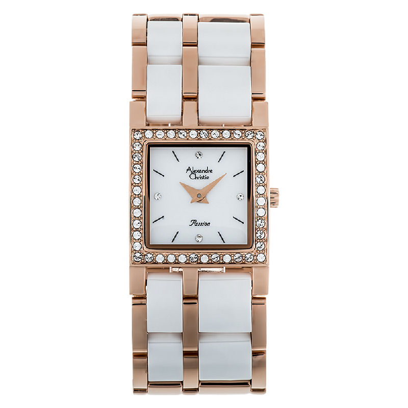 Alexandre Christie AC 2314 LH BRGSL Ladies White Dial Dual Tone Stainless Steel With Ceramic Strap