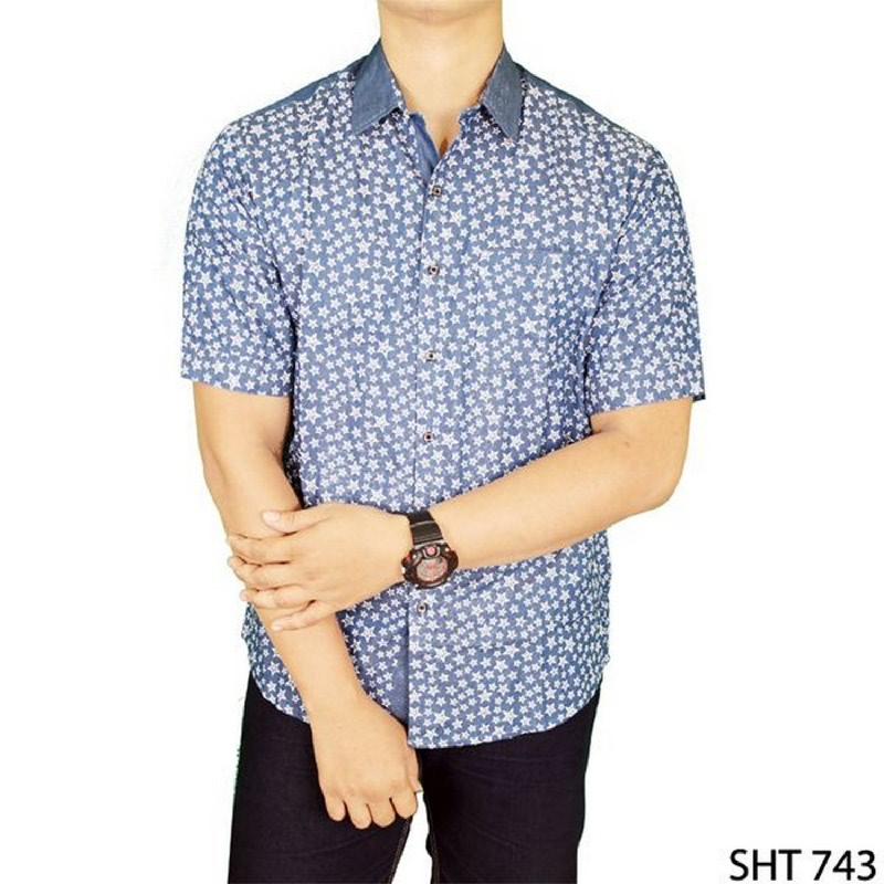 Gudang Fashion Kemeja Slim Fit Lengan Pendek Biru SHT 743