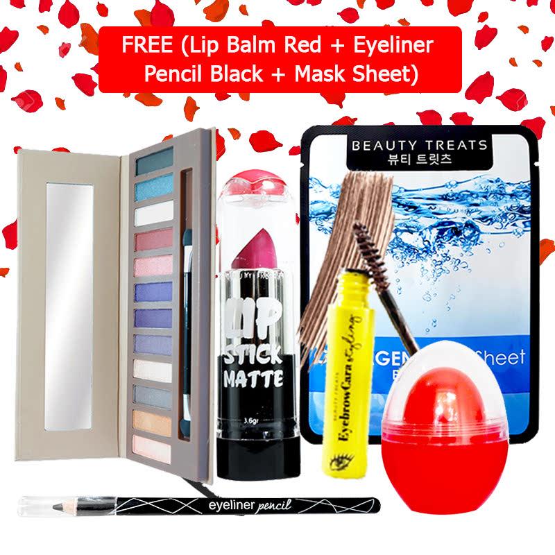 Beauty Treats Make Up Set B (Naked Eyeshadow No. 2 + Lipstick No. 3 + Eyebrowcara Dark Brown) FREE Kiss Me Lip Balm Red + Eyeliner Pencil Black + Mask Sheet Collagen