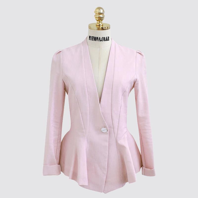 One Button Hurea Jacket-m3926 Pink