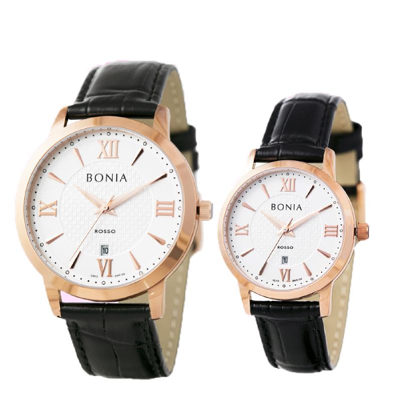Bonia Rosso BR166-1513 & BR166-2513 Couple Watch Black   iLOTTE