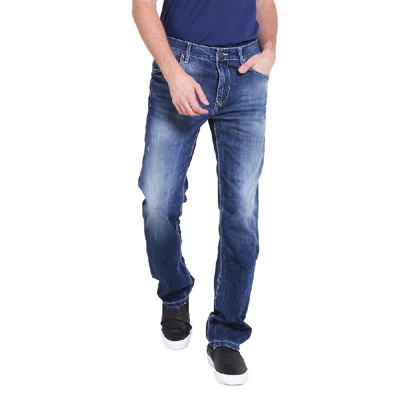 Bushido Bottom Medium Blue Straight Cut Jeans Bd17Pa016Pd