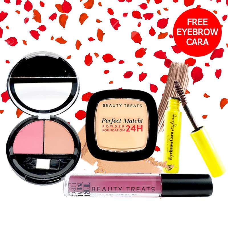 Beauty Treats Make Up Set A (Perfect Match Powder Foundation 24H No. 3 + True Matte Lip Color No. 11 + Duo Blush No. 2) FREE Eyebrowcara Dark Brown