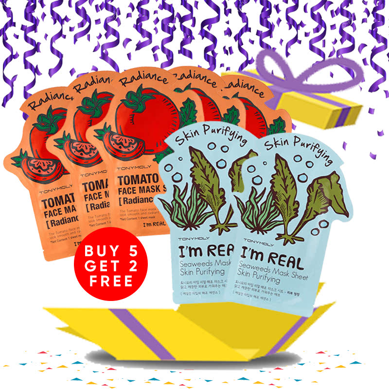 Tony Moly Bundle 5pcs I Am Real Tomato Mask Sheet Skin Glow + 2pcs Seaweeds Mask Sheet Skin Purifying