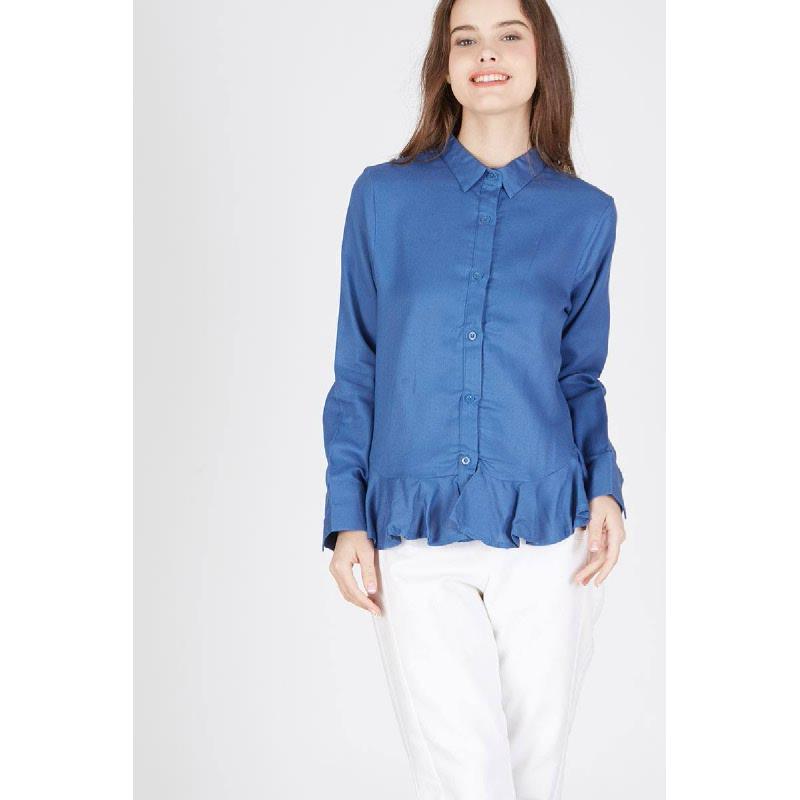 Porsha Frill Shirt Blue