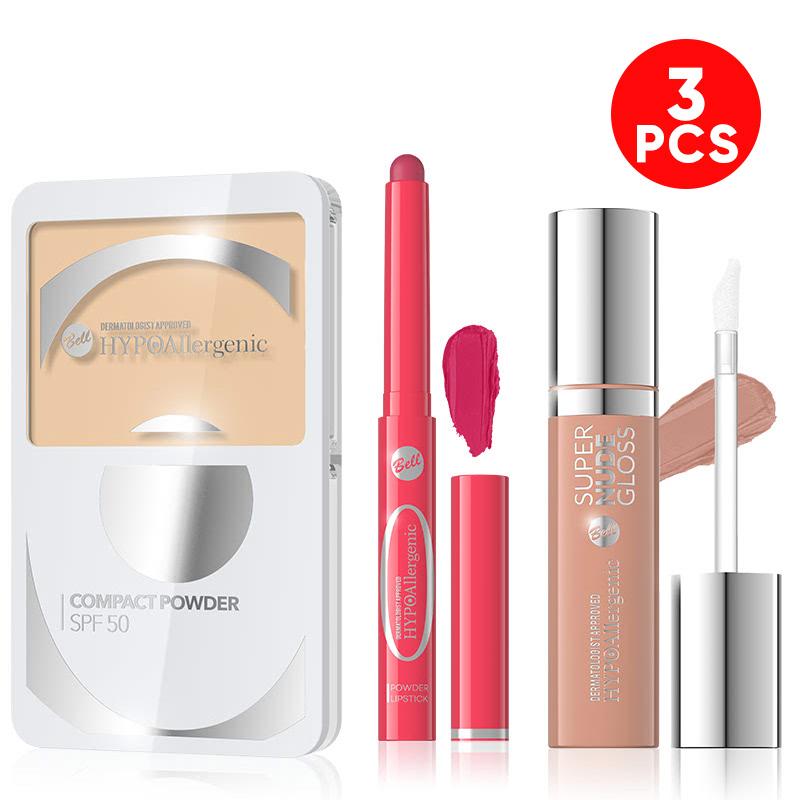 Bell Hypoallergenic Compact Powder SPF-50 05 Caramel + Bell Hypoallergenic Powder Lipstick 05 + Bell Hypoallergenic Super Nude Lip Gloss 05 Adobe