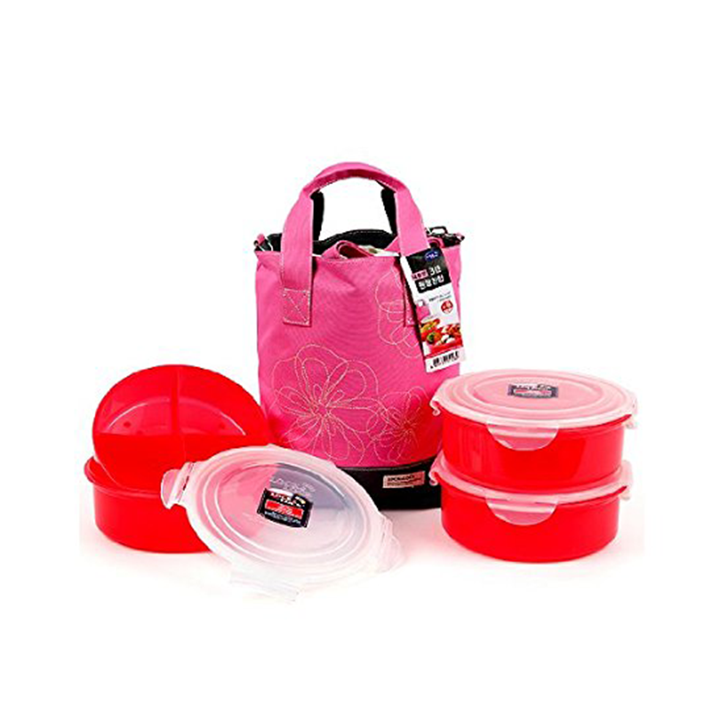 Lock & Lock HSM951Sp Round Lunch Box 1.6Lx3Ea, Divider 1Ea, Pink Bag