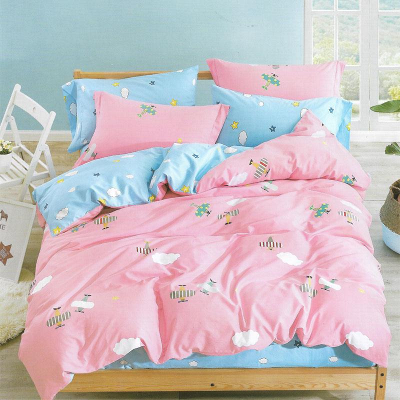 Sleep Buddy Set Sprei dan bed cover Airplane Cotton Sateen 200x200x30