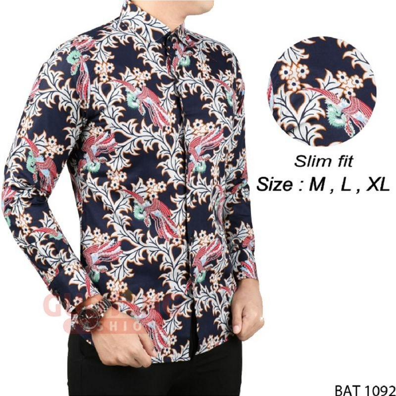 Gudang Fashion Batik Modern Slim Fit Panjang Pria Hitam
