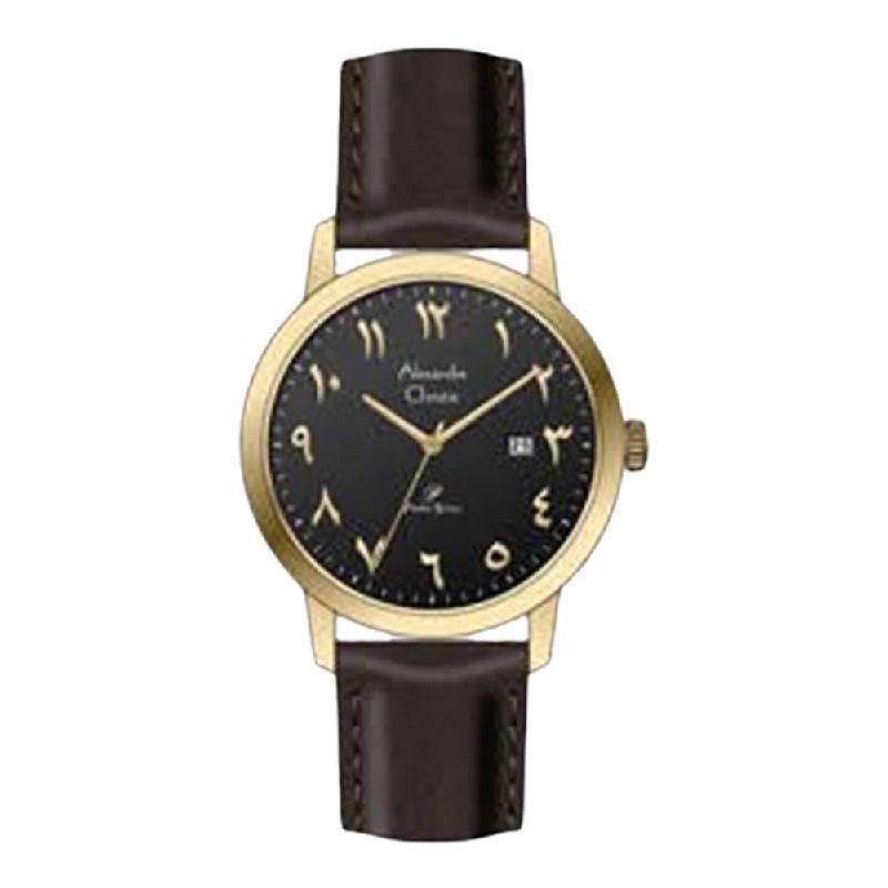 Alexandre Christie Primo Steel AC 1024 LDLGPBA Ladies Black Dial Black Leather Strap