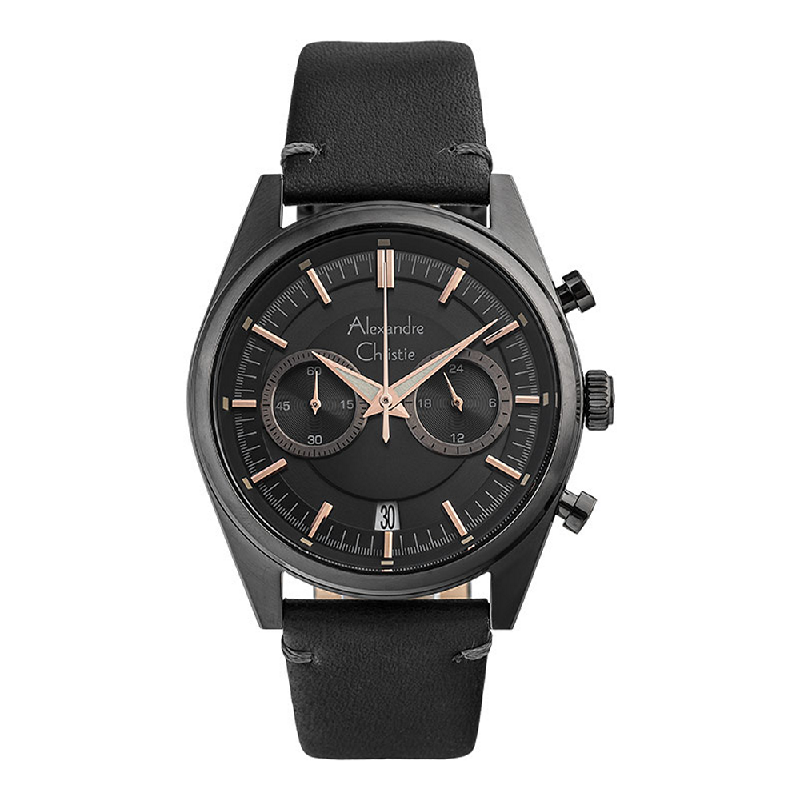 Alexandre Christie AC 6571 MCLIGBA Chronograph Men Black Dial Black Leather Strap