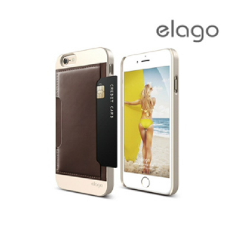 Elago Outfit Leather for iPhone 6, 6S - Brown + Champagne Gold