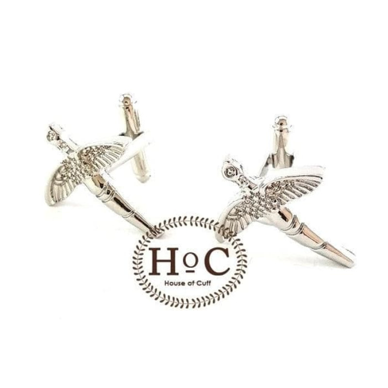 House Of Cuff Cufflinks Manset Kancing Kemeja French Cuff Silver Dragonfly Cufflinks