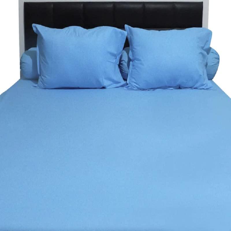 Sleep Buddy Set Sprei Plain Blue CVC 180x200x30