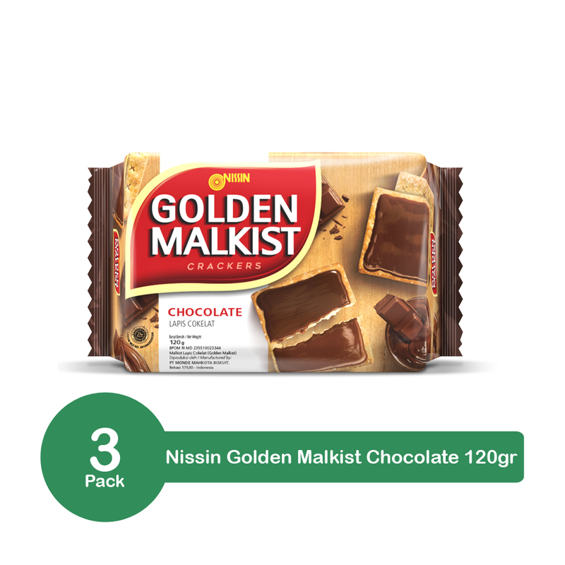 Nissin Golden Malkist Crackers Chocolate 120gr x 3 Pack