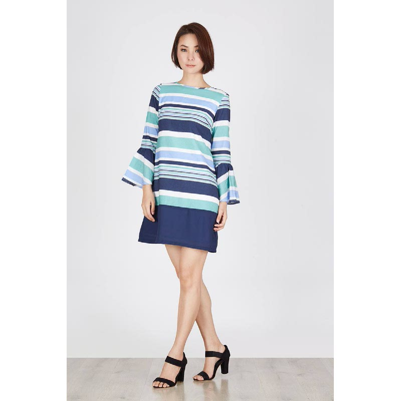 Paper Striped Dress Blue