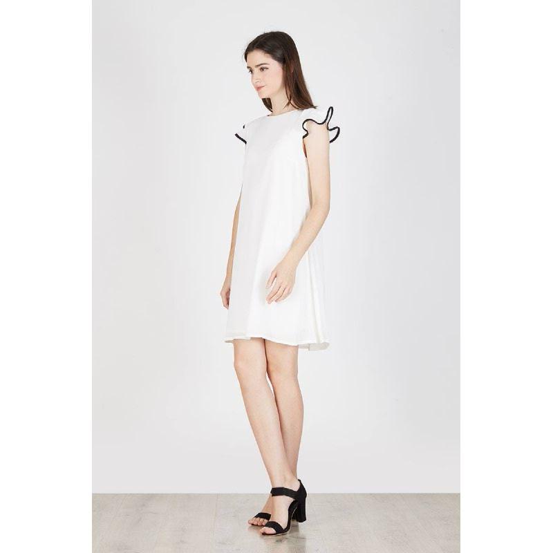 Nigella Frill Dress White