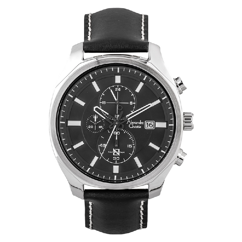 Alexandre Christie AC 6550 MC LSSBA Nanoceram Chronograph Black Dial Black Leather Strap