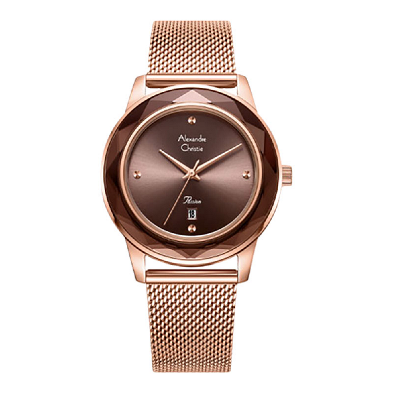 Alexandre Christie Passion AC 2908 LDBRGBO Ladies Brown Dial Rose Gold Mesh Stainless Steel Strap