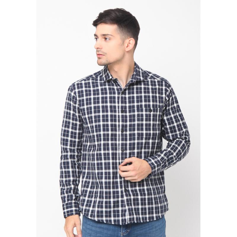 17seven Men Shirt Flanel Navy Stripe White