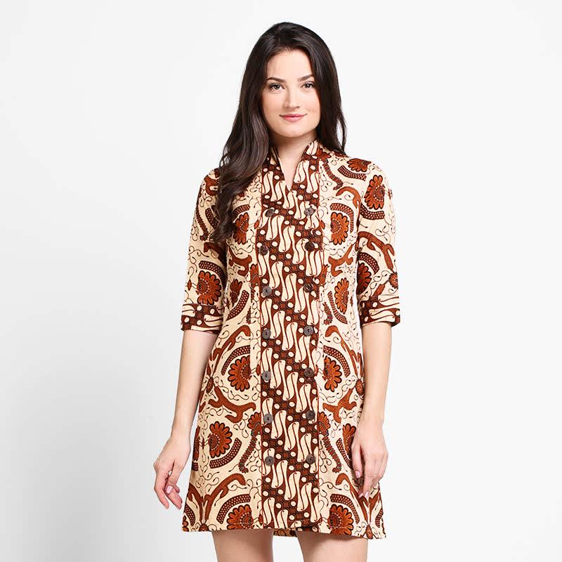 Arjuna Weda Sackdress Batik Pisang Bali Cokelat