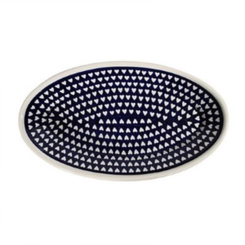1103 Oval Plate 27cm Blue Heart